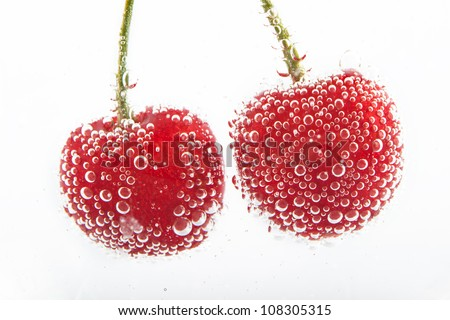 cherries in water with bubbles #108305315