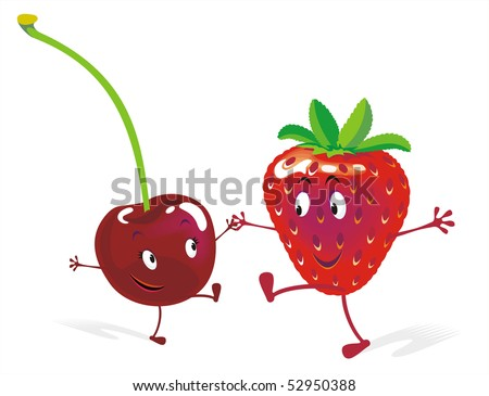 Cherry and strawberry on rock-and-roll. Large format high resolution illustration.