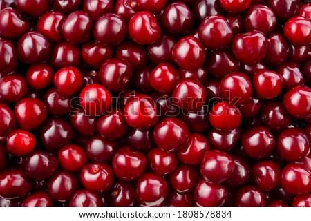 Cherry background. Cherry top view. Sour cherry flat design. Fruit macro. Photo stock ©