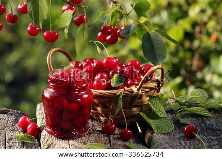 Cherry basket / cherry jam / cherry tree branch