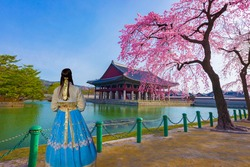 Cherry Blossom in spring with woman in Korean national dress. at Gyeongbokgung Palace. Seoul,South Korea.