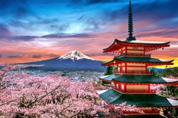 Cherry blossoms in spring, Chureito pagoda and Fuji mountain at sunset in Japan.