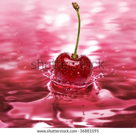 cherry drink splash close up background