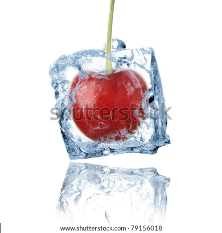 Cherry frozen in ice cube