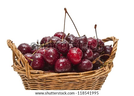 cherry in basket closeup