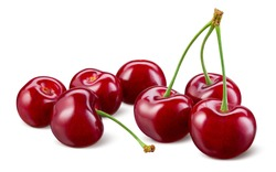 Cherry isolated. Cherries on white background. Sour cherry on white. Cherri with clipping path. Full depth of field.