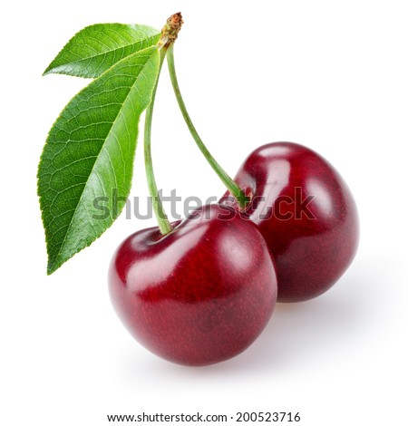 cherry isolated on white...