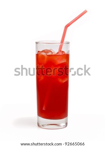 Cherry juice with ice isolated on white