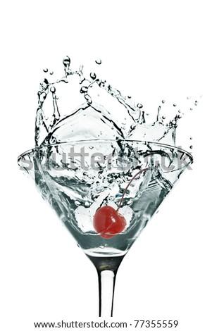 Cherry Martini Splash on a white background