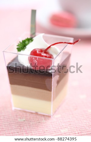 Cherry Panna Cotta pudding with coffee