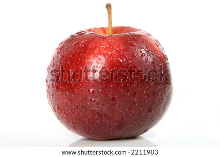 Cherry red summer apple isolated on white, macro close up with copy space