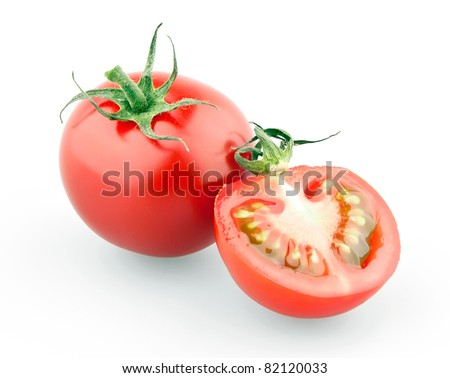 Cherry tomato and half isolated on white background