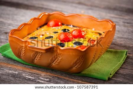 Cherry Tomato & Olive Clafoutis - stock photo