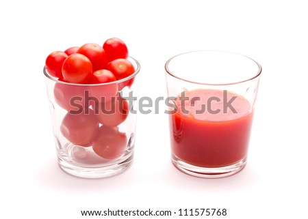 Cherry tomatoes and fresh tomato sauce in two glasses