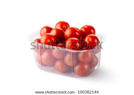 Cherry tomatoes in retail packaging. Isolated on a white.