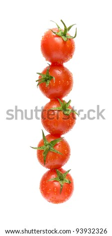 cherry tomatoes in water droplets isolated on a white background