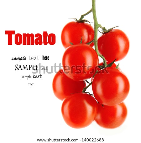 Cherry tomatoes on a branch isolated on white