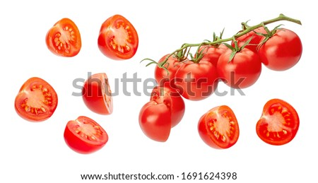 Cherry tomatoes. Pieces of tomatoes are cut in half and whole vegetables on a branch. Isolated on a white background.