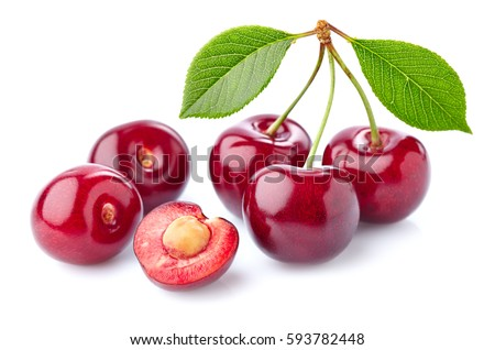 Cherry with leaves in closeup
