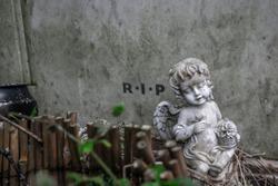 Cherub baby angel statue in a graveyard