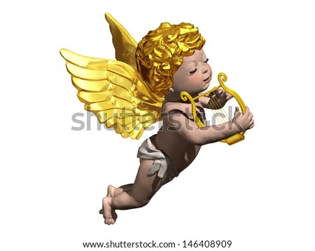 Cherub playing a Lyra