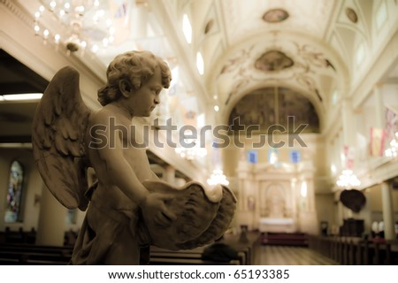 Cherub Statue in St. Louis Cathedral