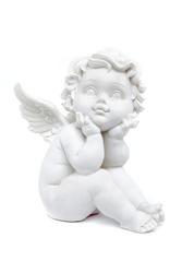cherub statuette isolated on white