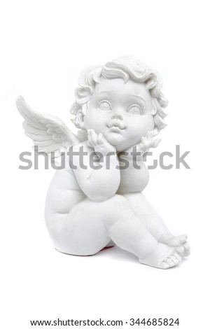 cherub statuette isolated on white stock photo