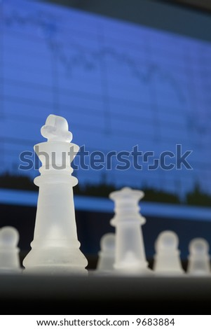 Chess and stock market diagram. Business concept.