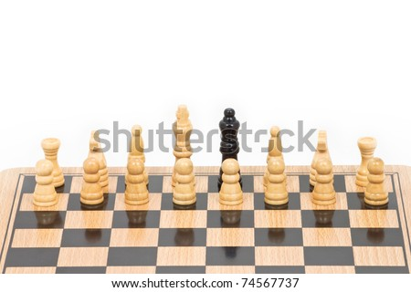 Chess battle black among white, represent wrong team's position, bad leader or different thinking