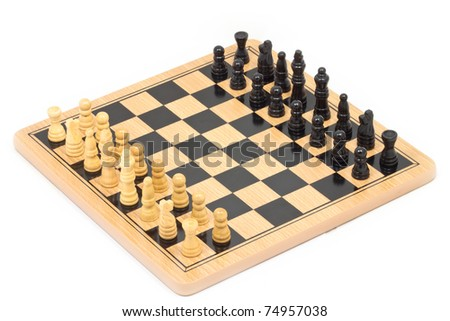 Chess battle on wood board