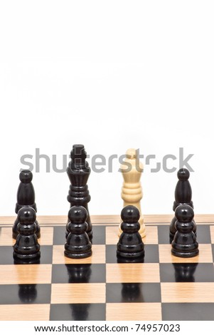 Chess battle white among black, represent wrong team's position, bad leader or different thinking
