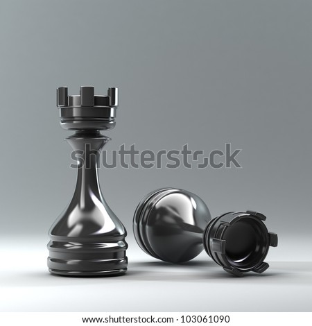 Chess black Castle High resolution 3d