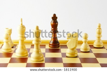 Chess - black king alone against a white army