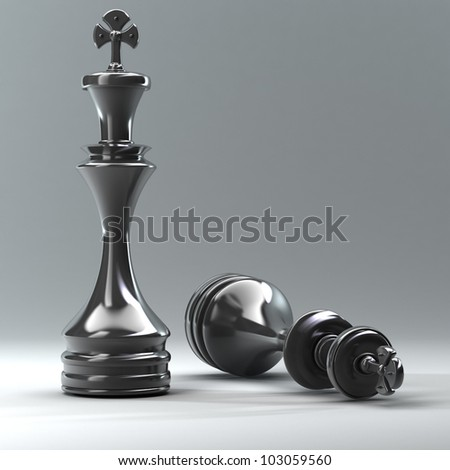 Chess black King High resolution 3d - stock photo
