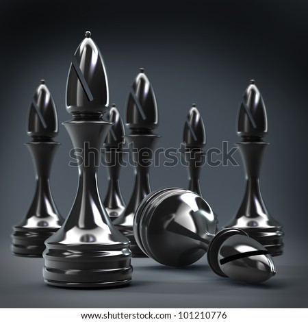 Chess black officer background High resolution 3d