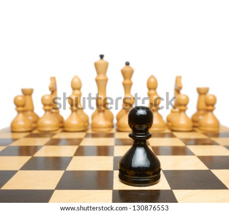 Chess. Black pawn against white pieces