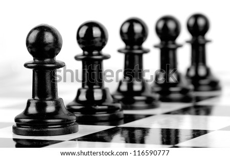 chess black pawns selective focus
