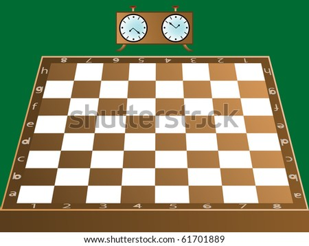 chess board and clock, abstract art illustration; for vector format please visit my gallery - stock photo