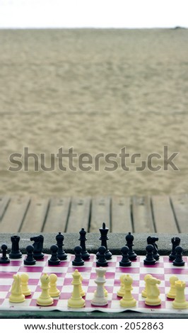 Chess board at the beach