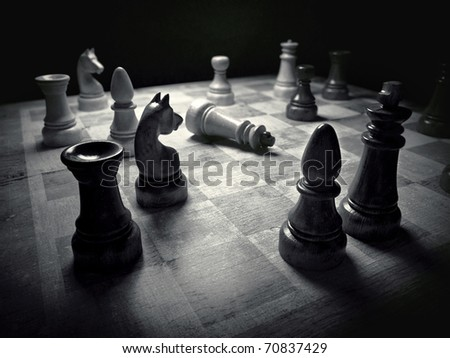 Chess board black & white 3d rendering