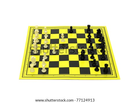 Chess board for travel  isolated on white background
