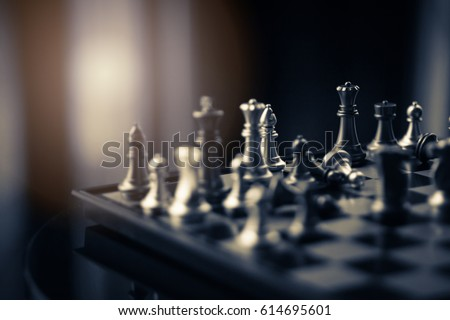 chess board game competition business concept with blur image background