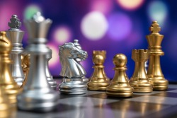 chess board game competition business concept with blur image background. to represent chess battle, success, team leader, teamwork and business strategy concept.