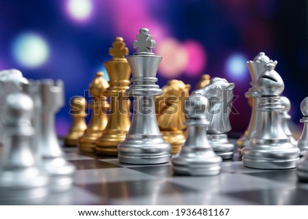 chess board game competition business concept with blur image background. to represent chess battle, success, team leader, teamwork and business strategy concept. ストックフォト ©