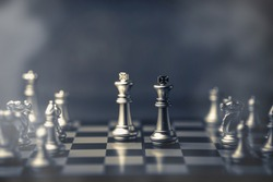 chess board game concept of business ideas and competition and strategy with fog or smoke effect
