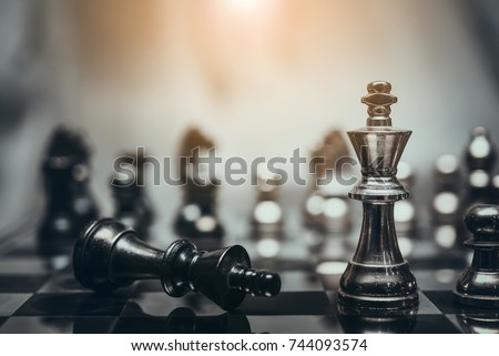 Photo of  chess board game for ideas and competition and strategy, business success concept