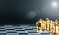 Chess Board Game for Strategic Planning Ideas and Business Competitive Leadership Success team leadership. Displayed under the symbol of a game of chess. with copy space