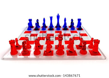 Chess Board Illustration with Red and Blue Glass Pieces
