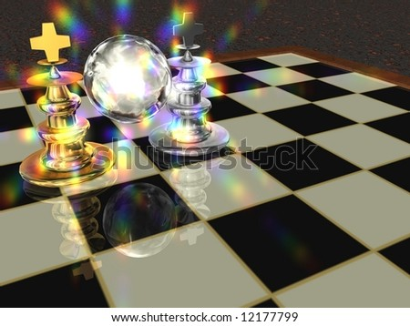 Chess-Board with a golden and silver chess-figure, a glass ball and lensflare. - stock photo